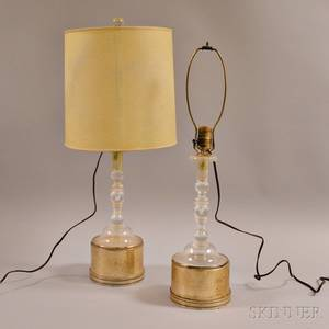 Pair of Silverplated and Colorless Glass Candlestick Lamps