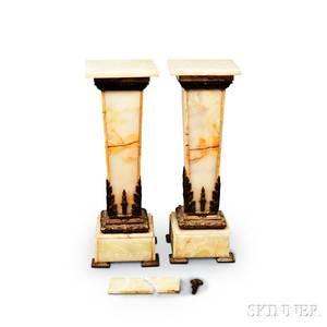 Pair of Ormolumounted Marble Pedestals