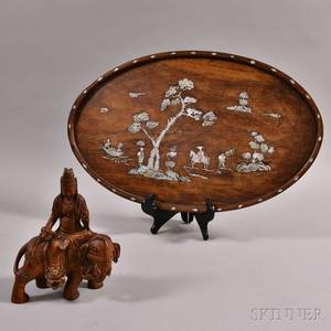 Wood Carving of a Bodhisattva and a Wood Tray