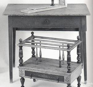 New England painted pine work table ca 1820