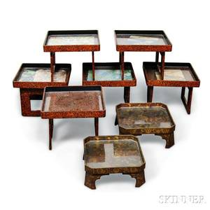 Eight Small Lacquer Footed Trays