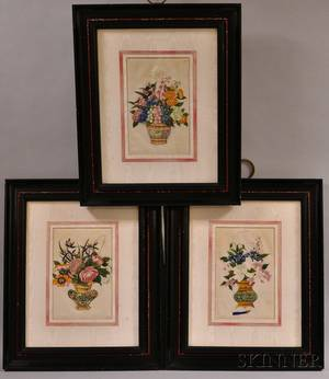 Three Floral Still Life Paintings on Velvet