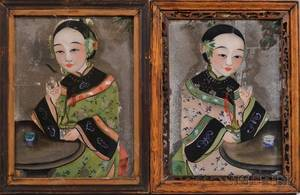 Pair of Asian Reversepaintings on Glass
