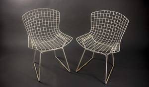 Pair of Bertoia for Knoll All White Wire Chairs