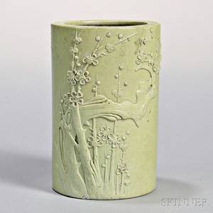 Carved Porcelain Brush Pot and a Yellow Gu Vase