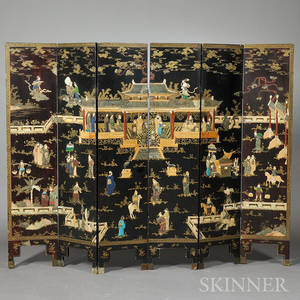 Sixpanel Lacquered Floor Screen