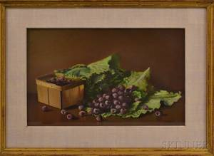 Attributed to Clare Hunting American 20th Century Still Life with Raspberries Spilled from a Box