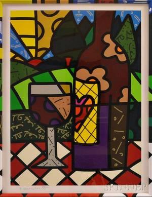 Romero Britto Brazilian b 1963 Wine Bottle and Glass