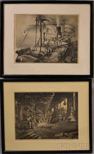 John A Noble American 19131983 Two Lithographs Import