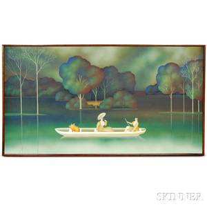 Igor Galanin RussianAmerican b 1937 Two Women and a Pig out for a Boat Ride