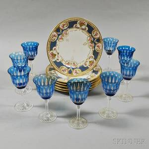 Nine St Louis Blue Cuttoclear Wines and a Set of Six Limoges Dinner Plates