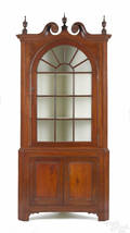 Pennsylvania pine and poplar twopart corner cupboard early 19th c