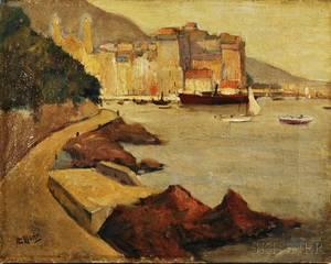 Continental School 20th Century The Old Port of Bastia Corse