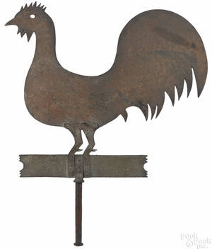 Painted sheet iron rooster weathervane ca 1900
