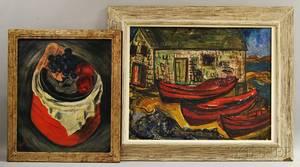Esther Estelle Pressoir American 19051986 Two Framed Works Still Life with Fruit