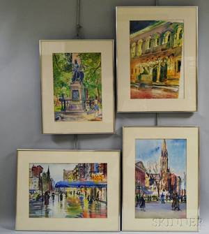 American School 20th Century Four Watercolors of Boston Scenes including the Boston Public Library and Boston Massacre Memorial Unsi