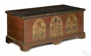 Pennsylvania painted pine dower chest dated