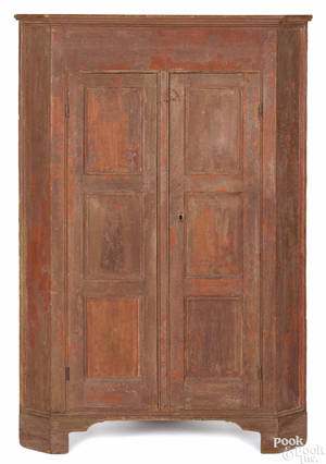 Pennsylvania painted poplar semitall corner cupboard early 19th c