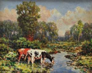 George Arthur Hays American 18541945 Two Cows Watering