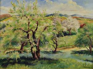 American School 20th Century Spring Landscape with Flowering Trees