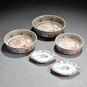 Two Sets of Three Imaristyle Bowls and Two Sometsuke Dishes