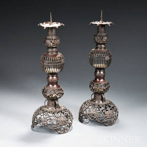 Pair of Bronze Candle Holders
