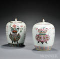 Two Enameled Covered Jars