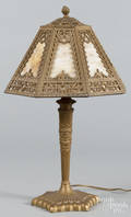 Gilt metal and slag glass table lamp