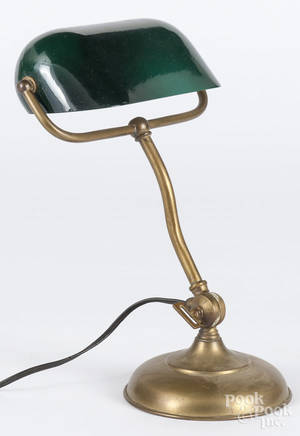 Brass desk lamp with an emerald green shade
