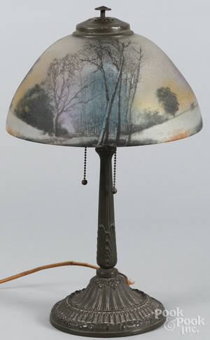 Patinated white metal table lamp