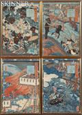 Four Utagawa Yoshitsuya 18221866 Woodblock Prints
