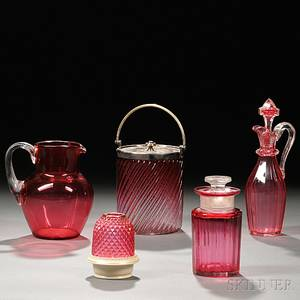 Five Pieces of Cranberry Glass Tableware