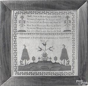 English silk on linen sampler dated