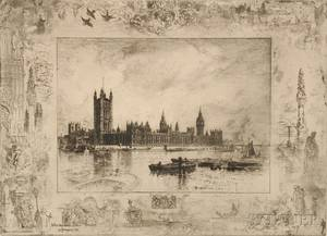 Flix Hilaire Buhot French 18471898 Westminster Palace