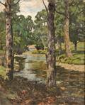 Ben Foster American 18521926 Trees Along the Banks of a Stream