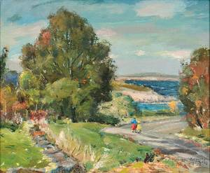 Antonio Cirino American 18891983 Coastal View with Figures on a Path