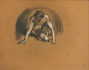 Arthur Bowen Davies American 18621928 Three Framed Figure Drawings Crouching Male Seated Male Nude