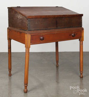 Pennsylvania Sheraton stained pine schoolmasters desk