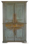 MidAtlantic painted pine and poplar wall cupboard late 18th c