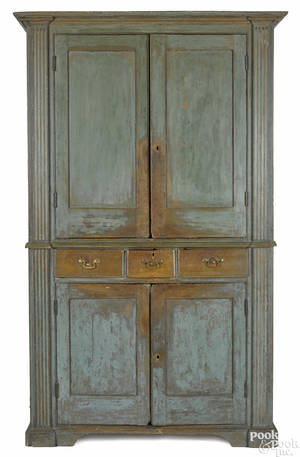 MidAtlantic painted pine and poplar wall cupboard late 18th c