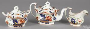 Gaudy Dutch threepiece tea service 19th c