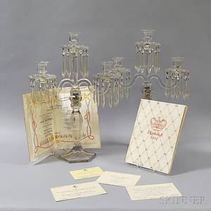 Pair of Glass and Crystal Threelight Candelabra and a Group of Coronation Items