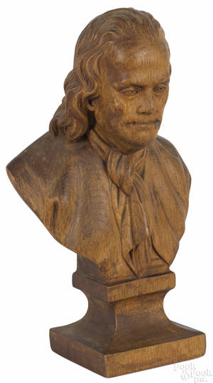 Carved mahogany bust of Benjamin Franklin late 19th c