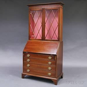 Kittinger Chippendalestyle Mahogany Glazed DeskBookcase