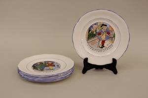 Six E 20th C French Childrens Plates