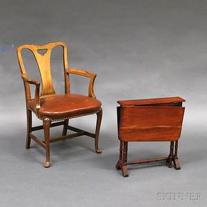 Queen Annestyle Walnut Armchair and a Turned Mahogany Tuckaway Table