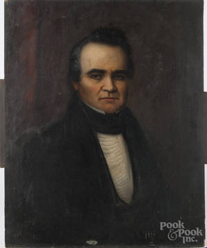 American oil on panel portrait of a gentleman