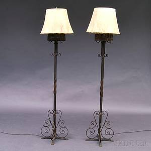 Pair of Wrought Iron Floor Lamps