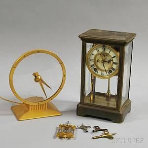 Two Metal Mantel Clocks
