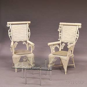Two Similar Whitepainted Fancy Wicker Chairs and a Midcentury Modern Coffee Table